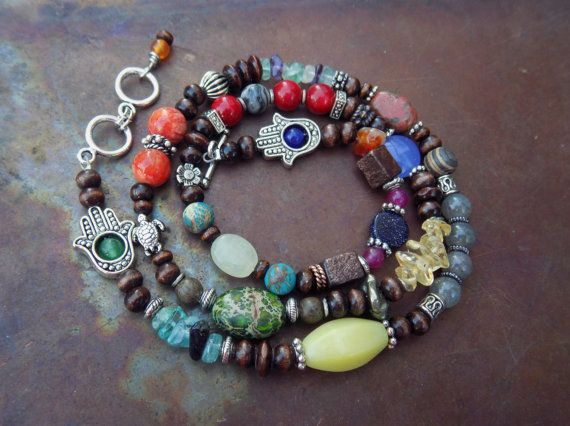 Energy Charged Mixed Color Stone and Wood Multi-Use Wrap with Hamsa, Turtle, & Flower Symbols - Necklace / Bracelet / Anklet   - Jewelry, Anklet, Necklace, Bracelet, Multi use, Wrap, Beaded, Handmade, Small Business, Shop Small, Etsy, Hippie, Boho, Gypsy, Spiritual Turtle, Etsy, Healing Energy, Reiki, Energy Infused, Crystals, Stones, New Age, Hamsa, Turtle, Wood, Jasper, Apatite, Jade, Citrine, Flower, Free Spirit, Festival Style, Colorful, One of a kind, gift idea