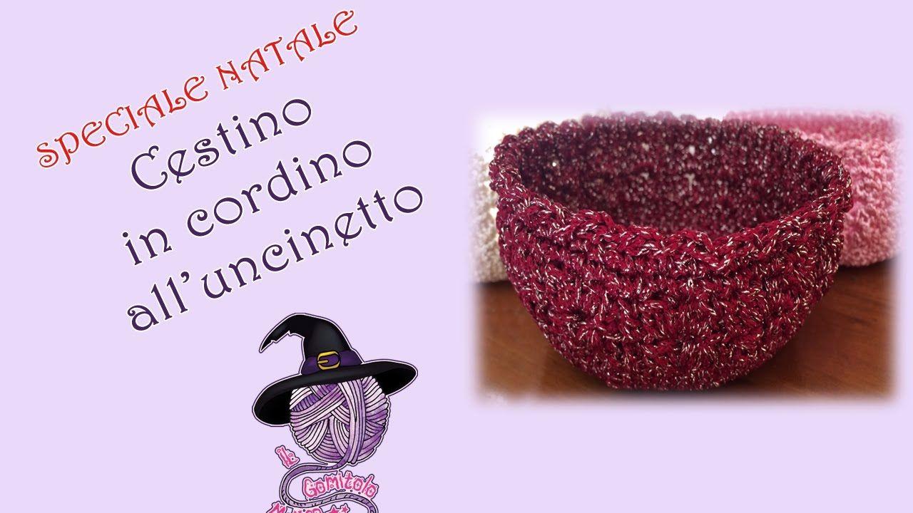 Idee regalo - Gift for Christmas  Cestino all uncinetto in cordino THAI . beab2fffb708