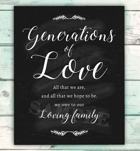 Generations of Love Wedding Printable Family by