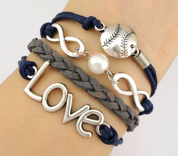 Infinity Wish Pearl Love Softball Baseball Charm Bracelet In Silver Navy Blue Gray Customize Sports Friendship Gift Bridesmaid On Etsy 5 99