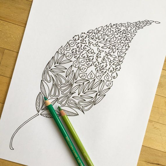 Little Leaves - Hand Drawn Adult Coloring Page Print