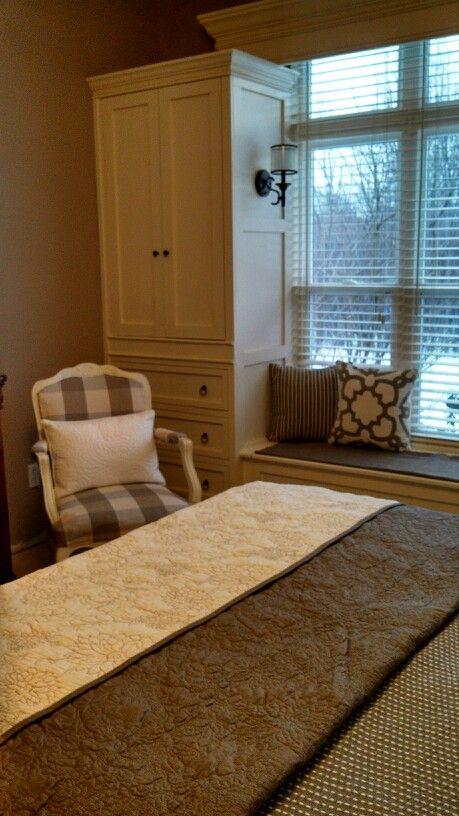 Master bedroom with built in wardrobes and great cedar lined window seat storage!