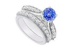 14K White Gold : Tanzanite and Diamond Engagement Ring with Wedding Band Set 1.15 CT TGW