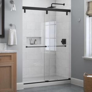 Delta Everly 60 In X 71 1 2 In Frameless Mod Soft Close Sliding Shower Door In Matte Black With 1 4 In 6 Mm Clear Glass Sd4511065 In 2020 Sliding Shower Door Shower Doors Unique Shower Doors