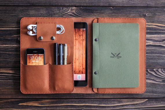 Leather iPad Case Folio A5 / Leather iPad Mini Case Sleeve / Custom Leather iPad Mini Organizer / iPad Mini Leather Folio Organizer