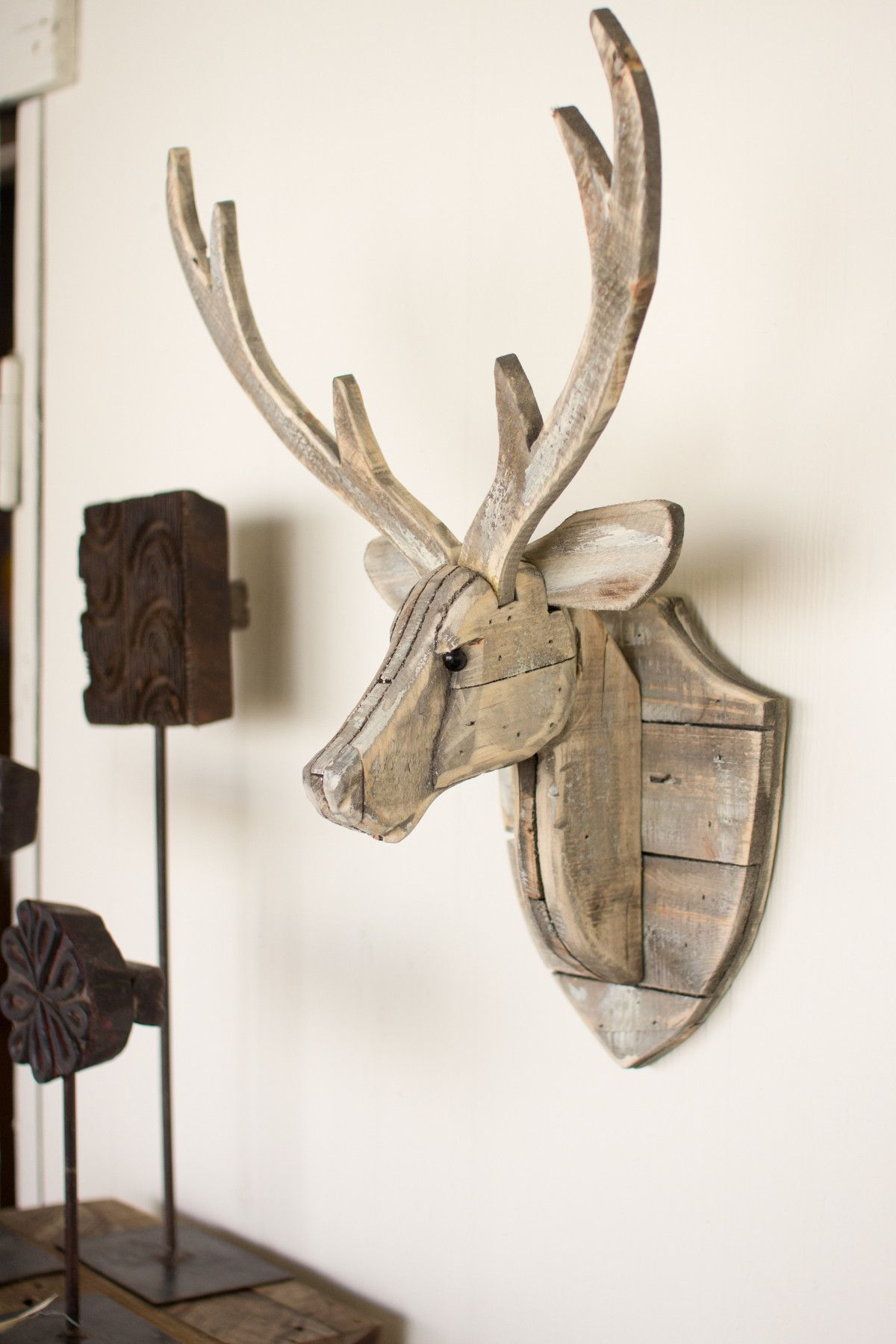 Kalalou recycled wooden deer head wall hanging woodworking kalalou recycled wooden deer head wall hanging amipublicfo Image collections