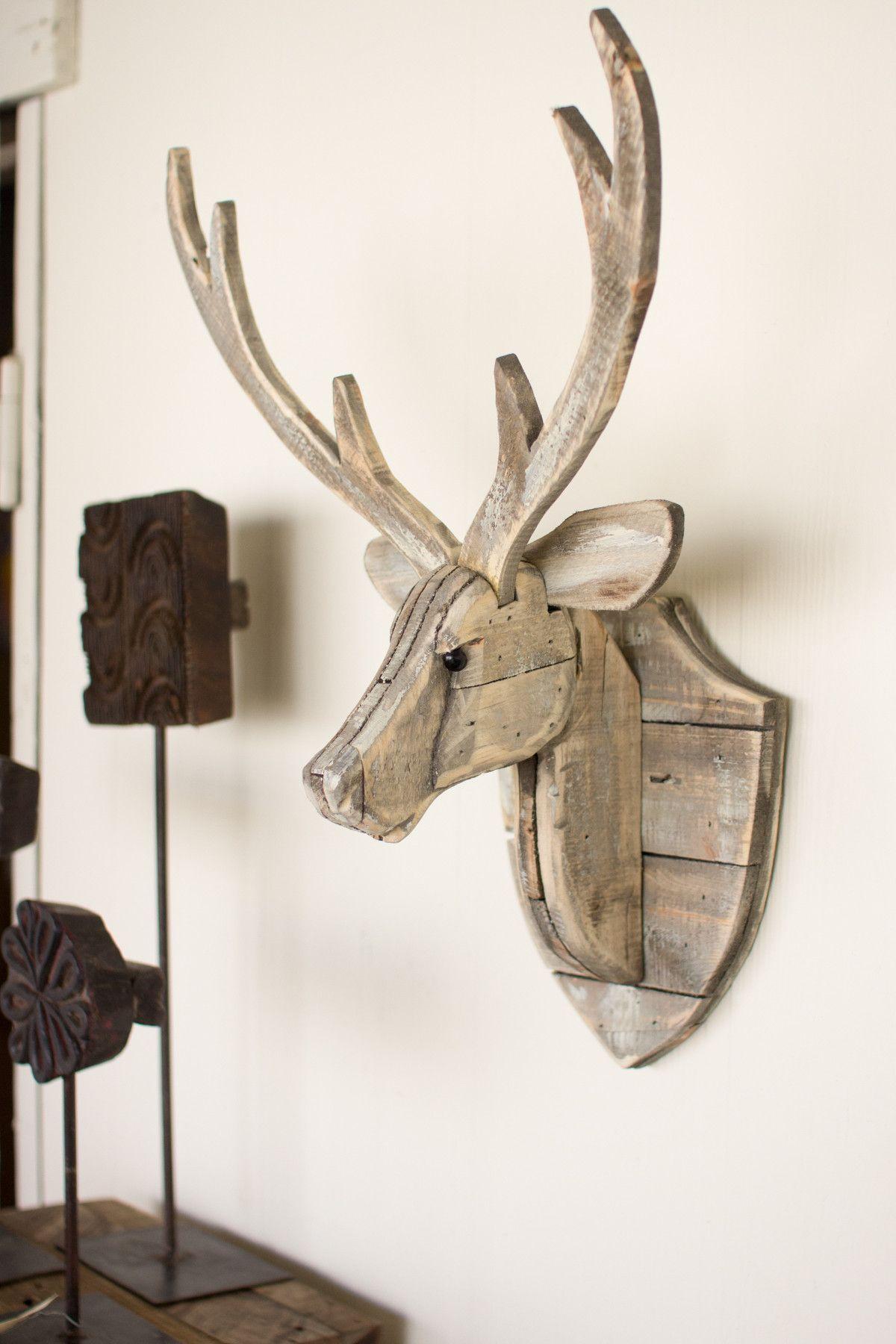 Kalalou recycled wooden deer head wall hanging walls woodworking