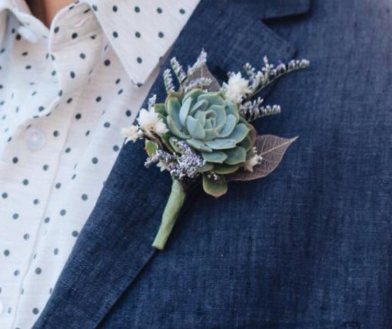 Wedding Flowers Boutonniere: Succulent Boutonniere, Purple