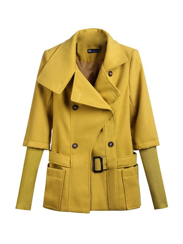 Double Breasted Turn Down Collar Woman Wool Coat