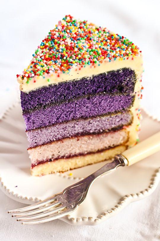 Purple ombre sprinkle cake...it's art!
