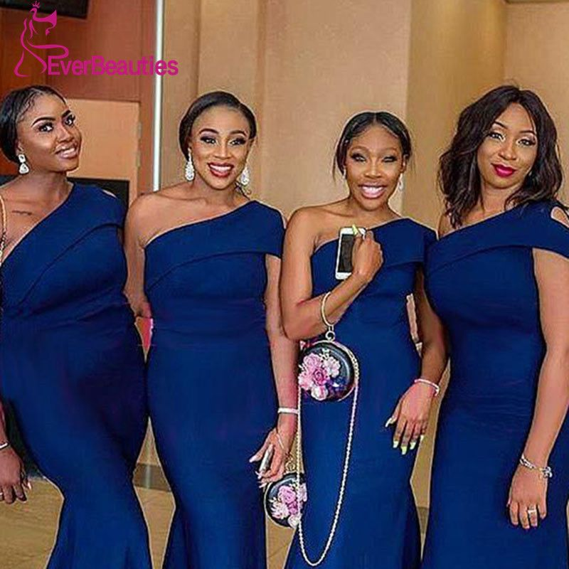 Mermaid Dark Blue Wedding Guest Dress Party Dress One Shoulder Bridesmaid Dresses Dress Wedding Guest #weddingguestdress