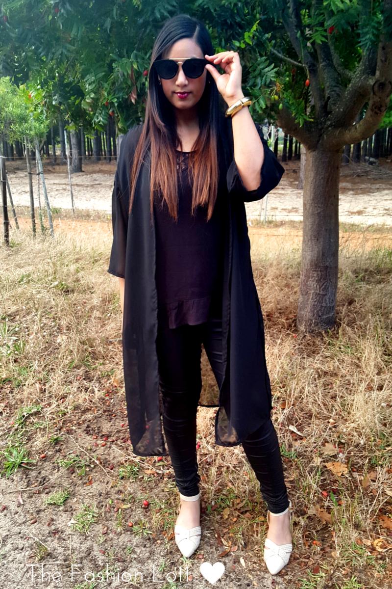 Long Chiffon Black Kimono R 180  Email :Thefashionlott@gmail.com
