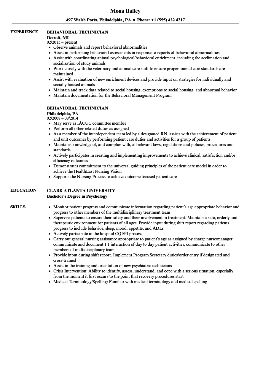 behavioral technician resume samples