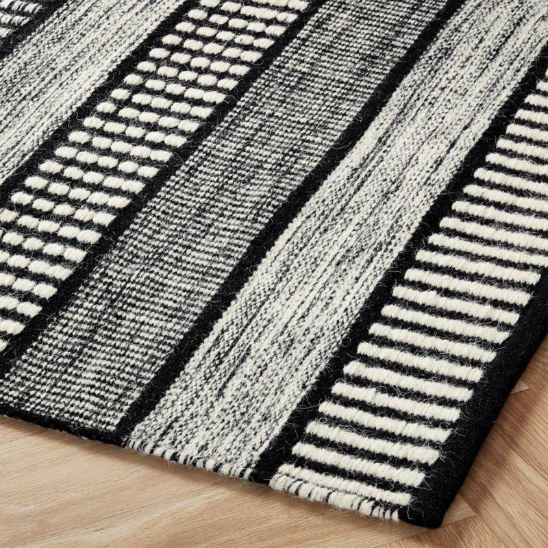Sloane Handloom Black And White Striped Rug 9 X12 In 2021 Black And White Living Room Striped Rug White Rug Black and white striped carpet