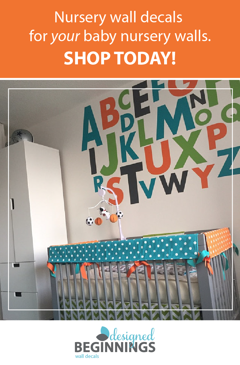 Large Letter Stickers Alphabet Letters Wall For Nursery Decals Playroom Vinyl