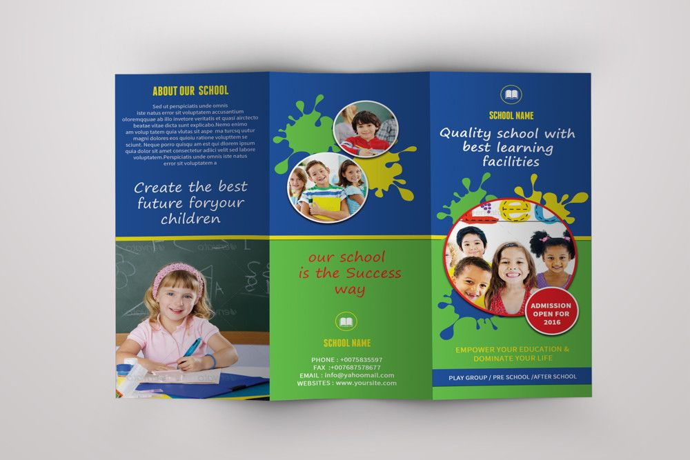 School Tri Fold Brochure Template  School Brochure Template Psd
