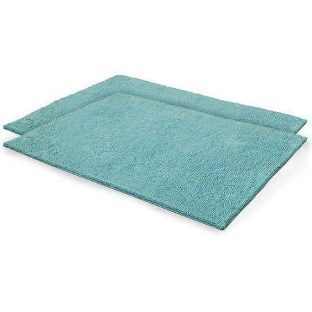 Bounce Comfort Chenille Plush Shag Bath Mat, Set Of 2, Blue
