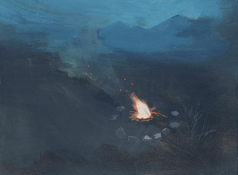 Around the Fire, gouache and acrylic on panel, 2011