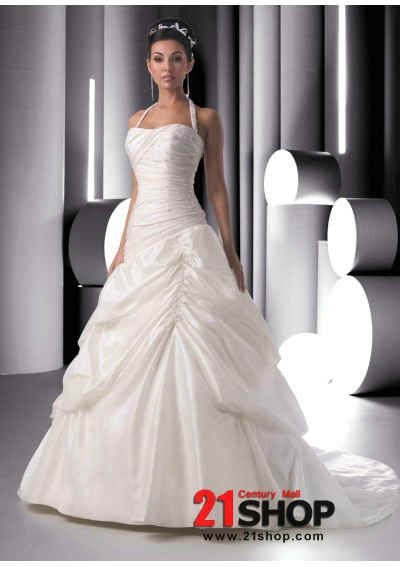 Taffeta Beaded Halter and Bodice with A line Skirt and Chapel Train Hot Sell Wedding Dress WD-0010 Shop
