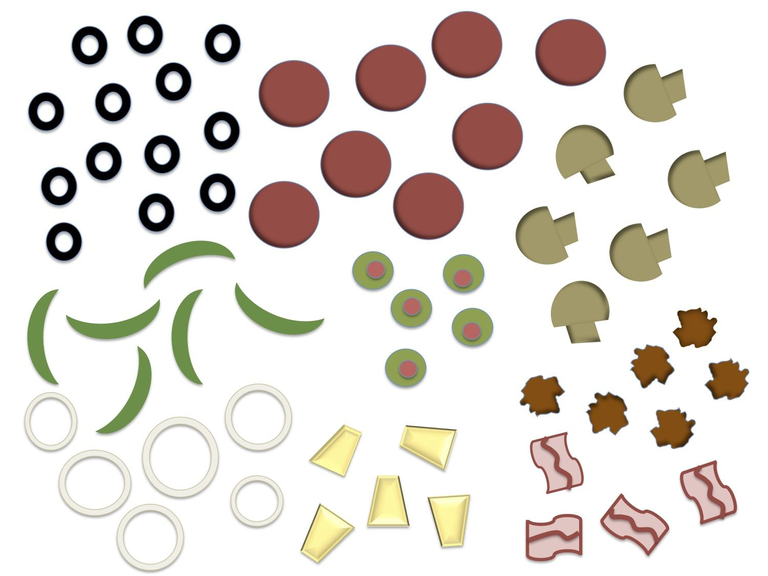 Printable Pizza Toppings Clipart Free Clipart