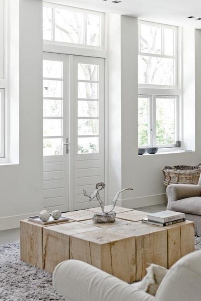 Meuble Design Scandinave, Une Jolie Table Basse En Bois Dans Le Salon  Moderne
