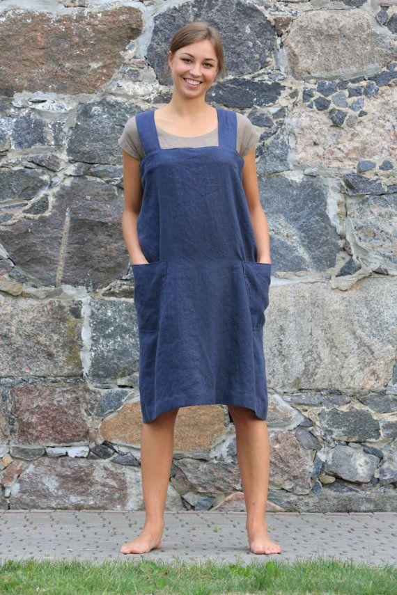 Linen Pinafore. Linen Square-Cross Apron / No-ties Apron / Japanese style Apron / Long apron