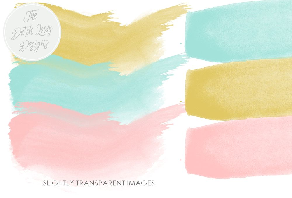 Watercolor Paint Brush Strokes Clipart In Pink Aqua Oker