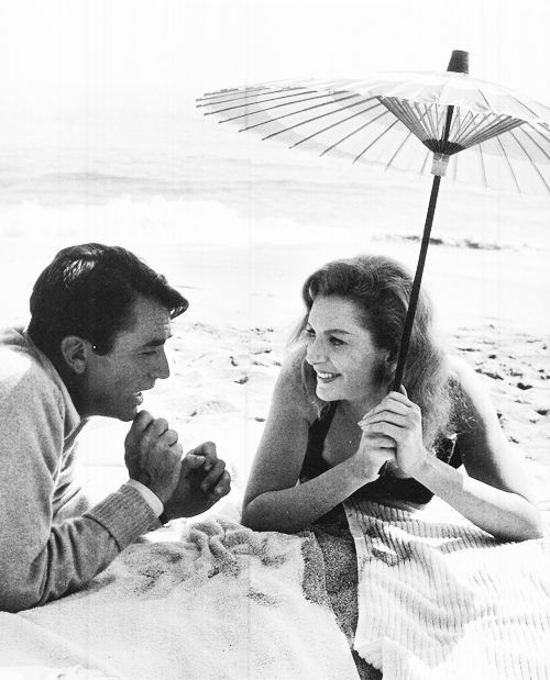 """trixiedelight: """" Deborah Kerr and Gregory Peck between takes on the set of The Beloved Infidel photographed by Bob Willoughby, 1959 """""""