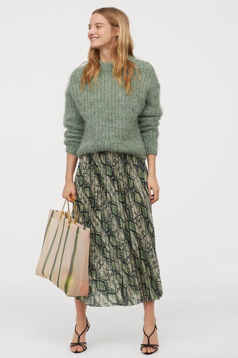 9ebbac63e9 Pleated Skirt - Khaki green/snakeskin pattern - Ladies | H&M US 1 Pleated  Skirt
