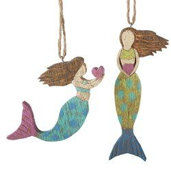 Folk Art Mermaid Ornaments Set of 2 $19.00 www.mermaidgardenornaments.com - Mermaid Christmas Ornaments (1)