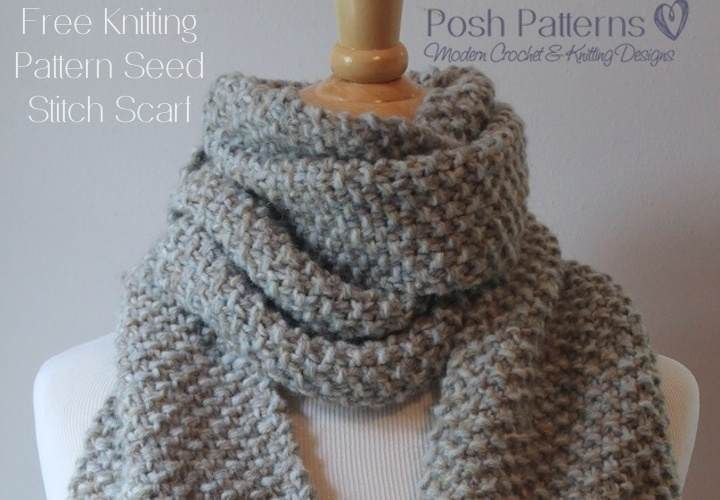 Free Beginner Scarf Knitting Pattern Seed Stitch Stitch Design