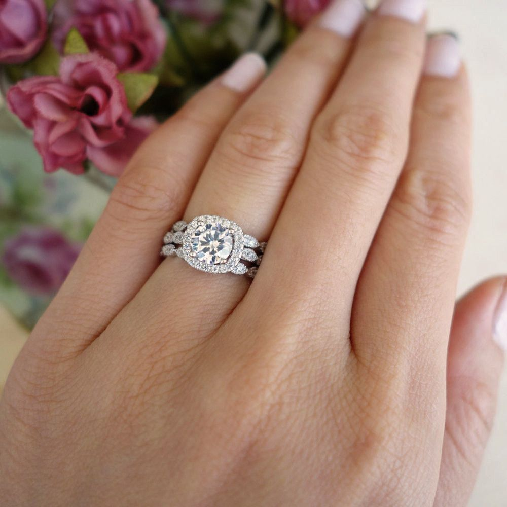 3 Band Ctw Halo Bridal Set Vintage Style Wedding Rings Flawless Man Made Diamond Simulants Art Deco Engagement Ring Sterling Silver
