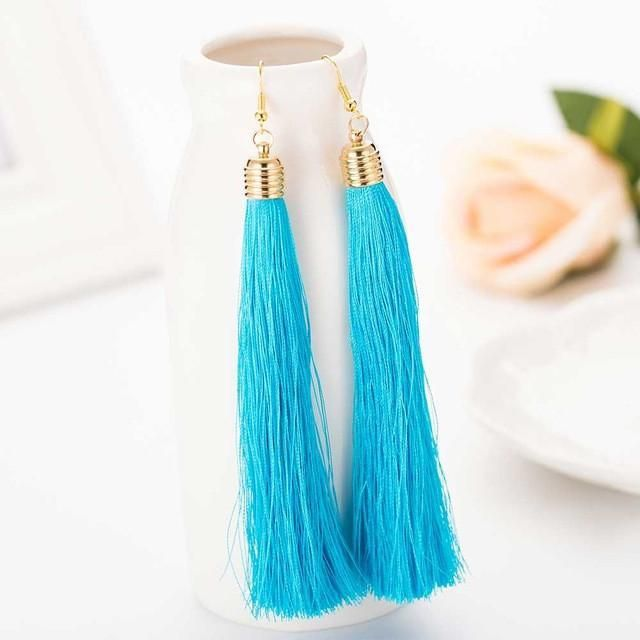 Long Tassel Drop Earrings - 11 Colors