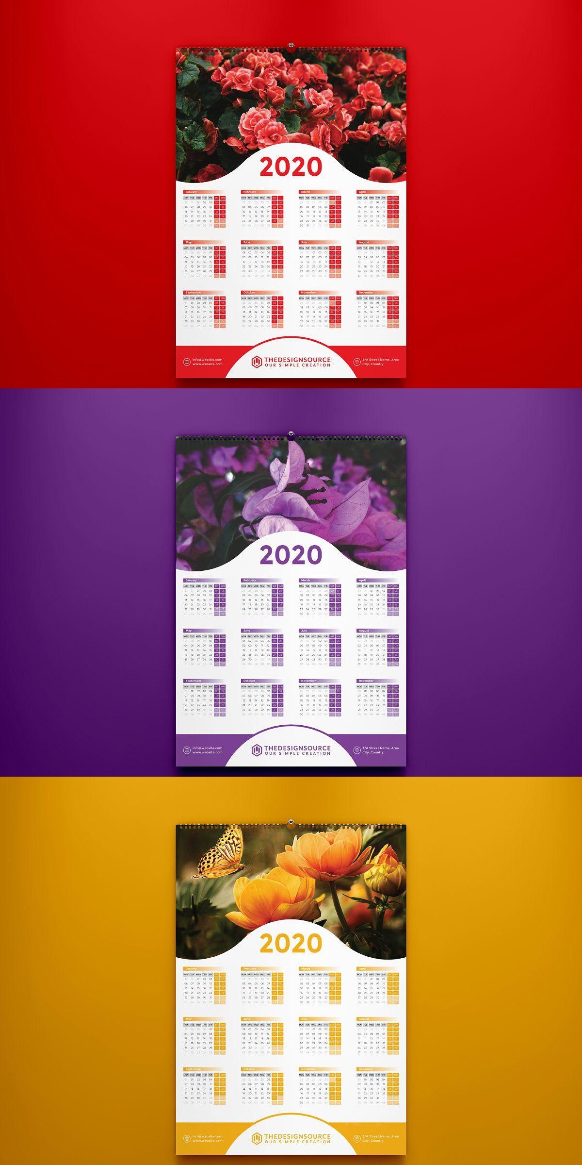 One Page Calendar 2020 Calendar Design Layout Calendar Layout Calendar Design Template
