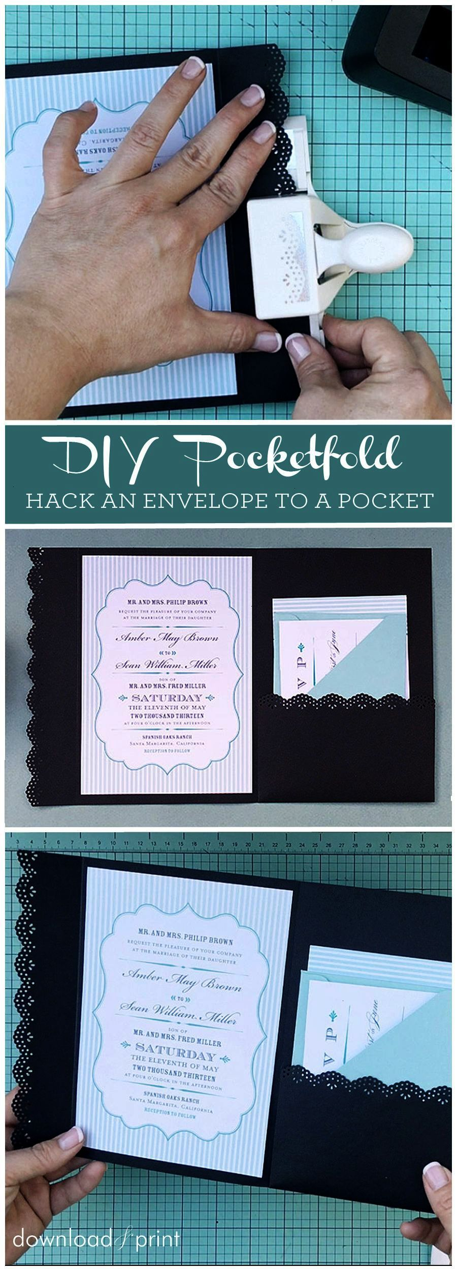 How to hack an envelope into a pocket invitation. Such a neat trick! |  Pocket wedding invitations, Wedding invitations diy, Wedding invitation  cards