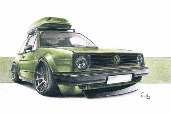 vw golf 2 volkswagen drawing with colour pencils by