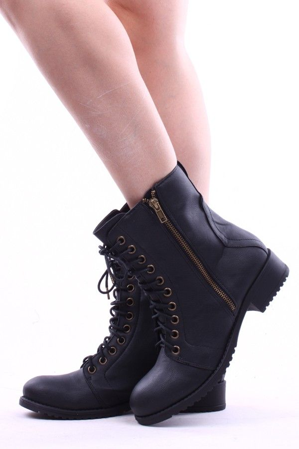 BLACK FAUX LEATHER ANKLE LENGTH LACE UP COMBAT BOOTS 6ceb630b5