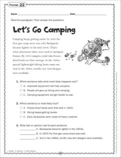 Let's Go Camping: Grade 3 Close Reading Passage