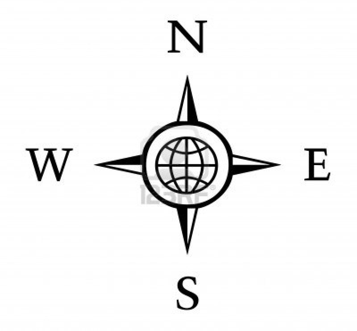 Compass Illustration With North South East West Stock
