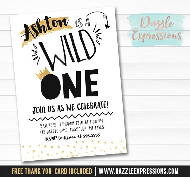 printable black and gold wild one birthday invitation | boys 1st, Wedding invitations