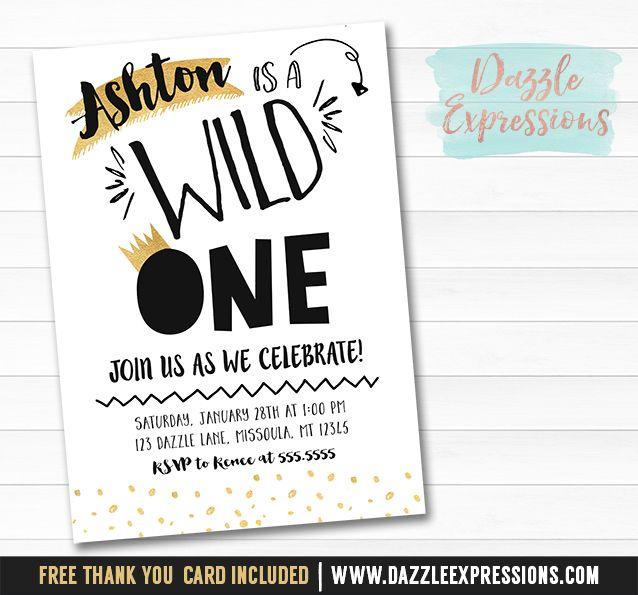 Printable Black And Gold Wild One Birthday Invitation
