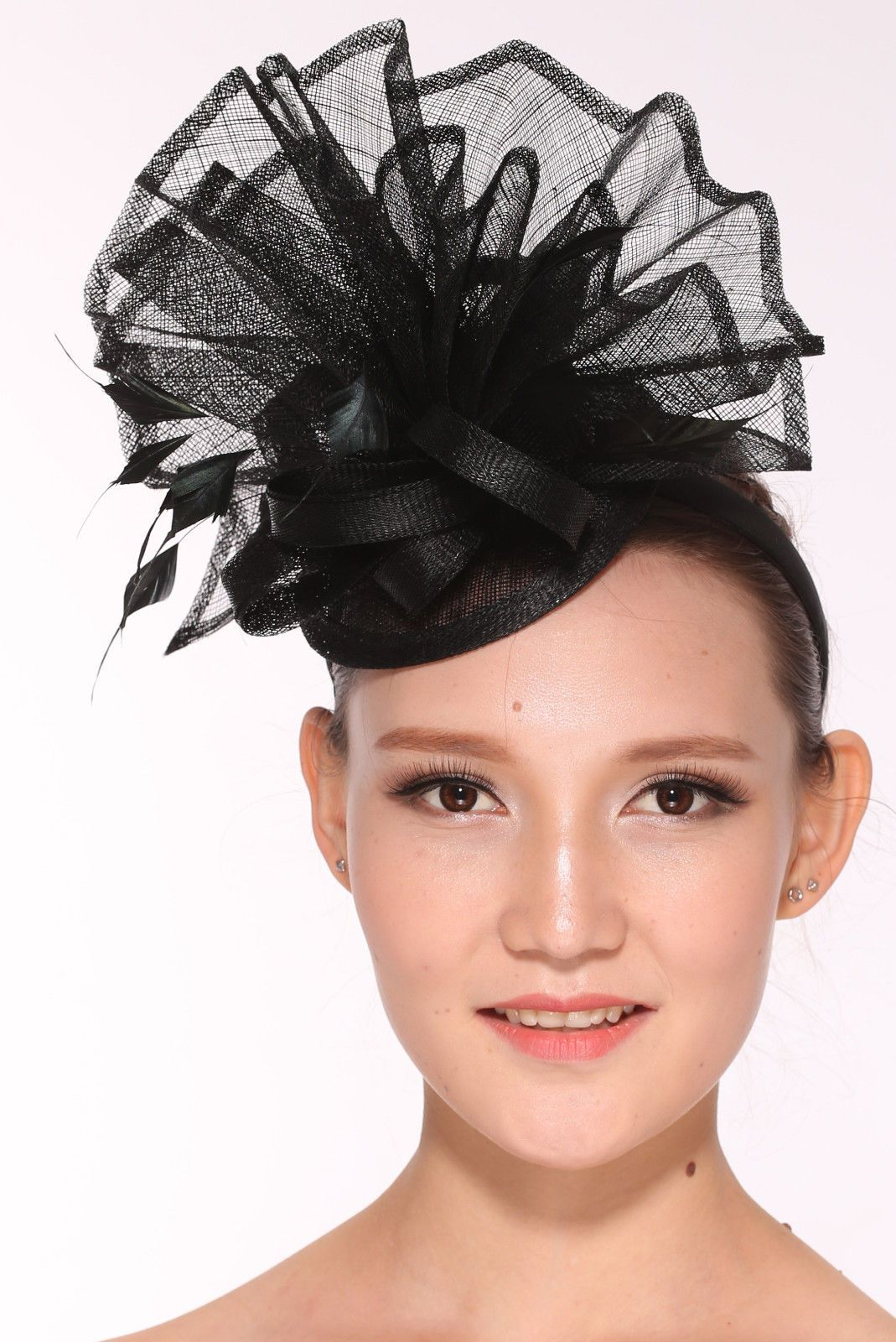 feab019ccf1 Kentucky Derby Feather Floral Sinamay Headband Fascinator Cocktail Black