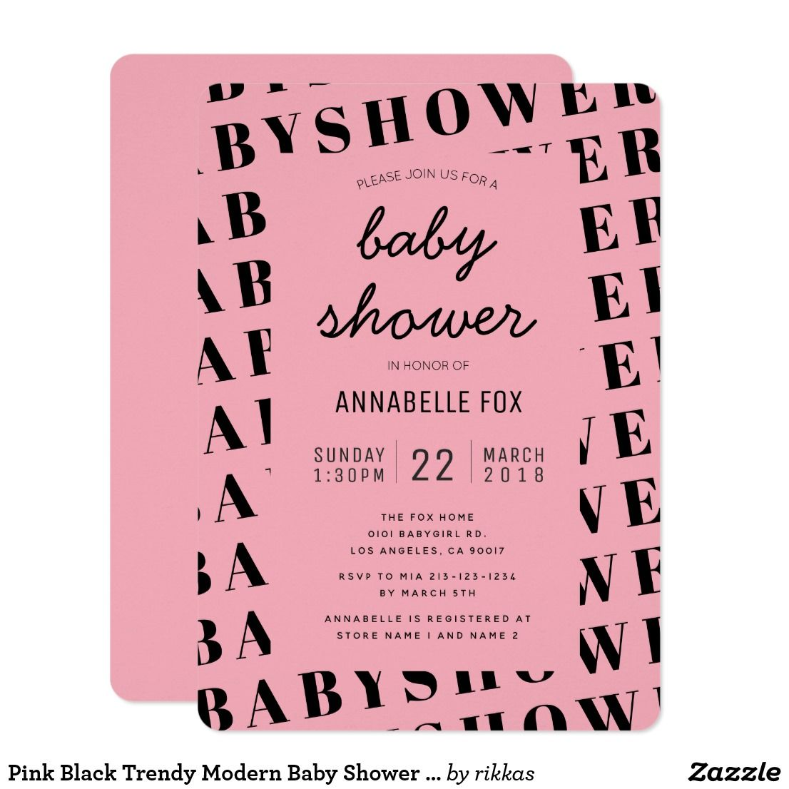 Pink Black Trendy Modern Baby Shower Invitation | Design | Pinterest ...