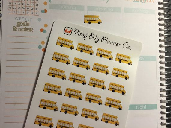 32 School Bus Stickers by PimpMyPlannerCo on Etsy