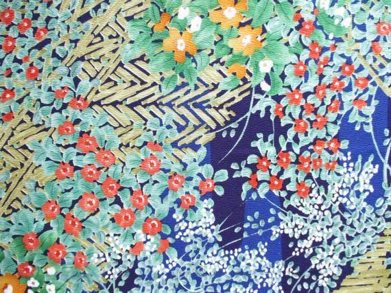 Japanese Silk Kimono Fabric Ship From Usa Hint Of Orange Etsy Japanese Silk Kimono Fabric Vintage Kimono Fabric