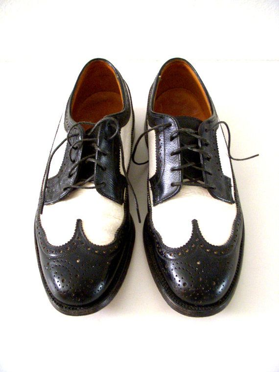 Two Tone Mens Wingtip Shoes - Florsheim Imperial Brogue Black and White  Wingtips with V Cleat - Men's Gangster Shoes Size 7.5 D