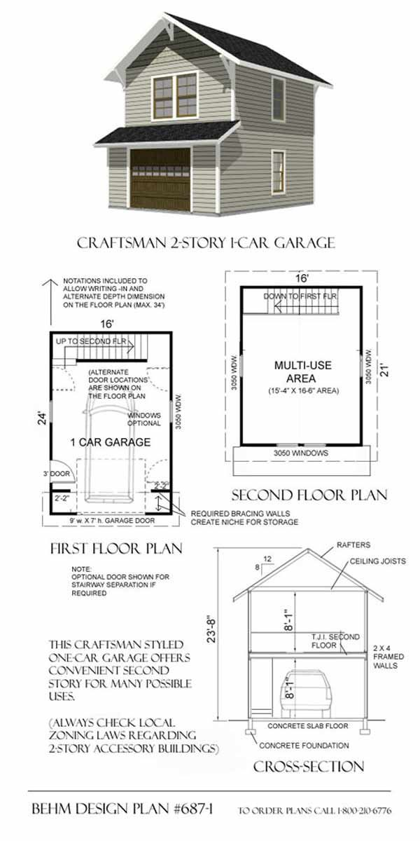 Two Story Garage Plan 687-1. This plan has been built many times ...