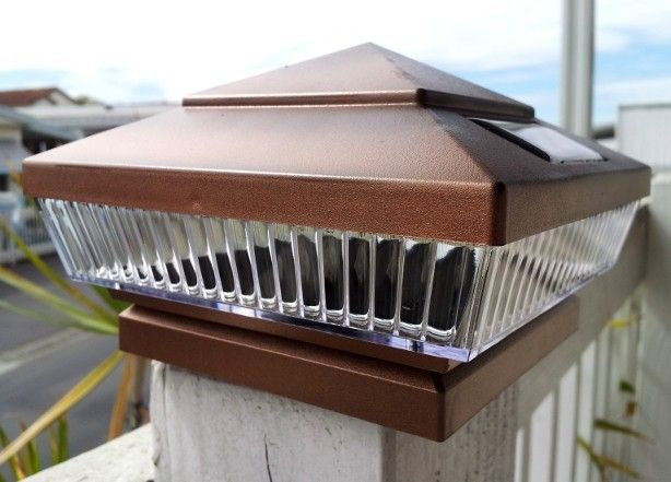 Copper Solar Deck Post Lights 6x6 With 5 Led Low Profile Set Of 2