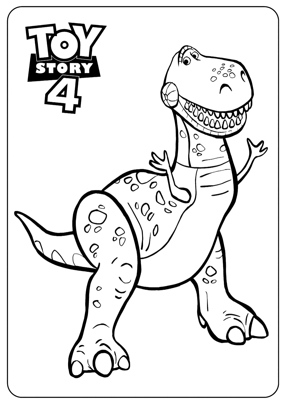 Free Toy Story 4 Coloring Page To Print And Color For Kids Rex Toy Story Coloring Pages Disney Coloring Pages Coloring Books