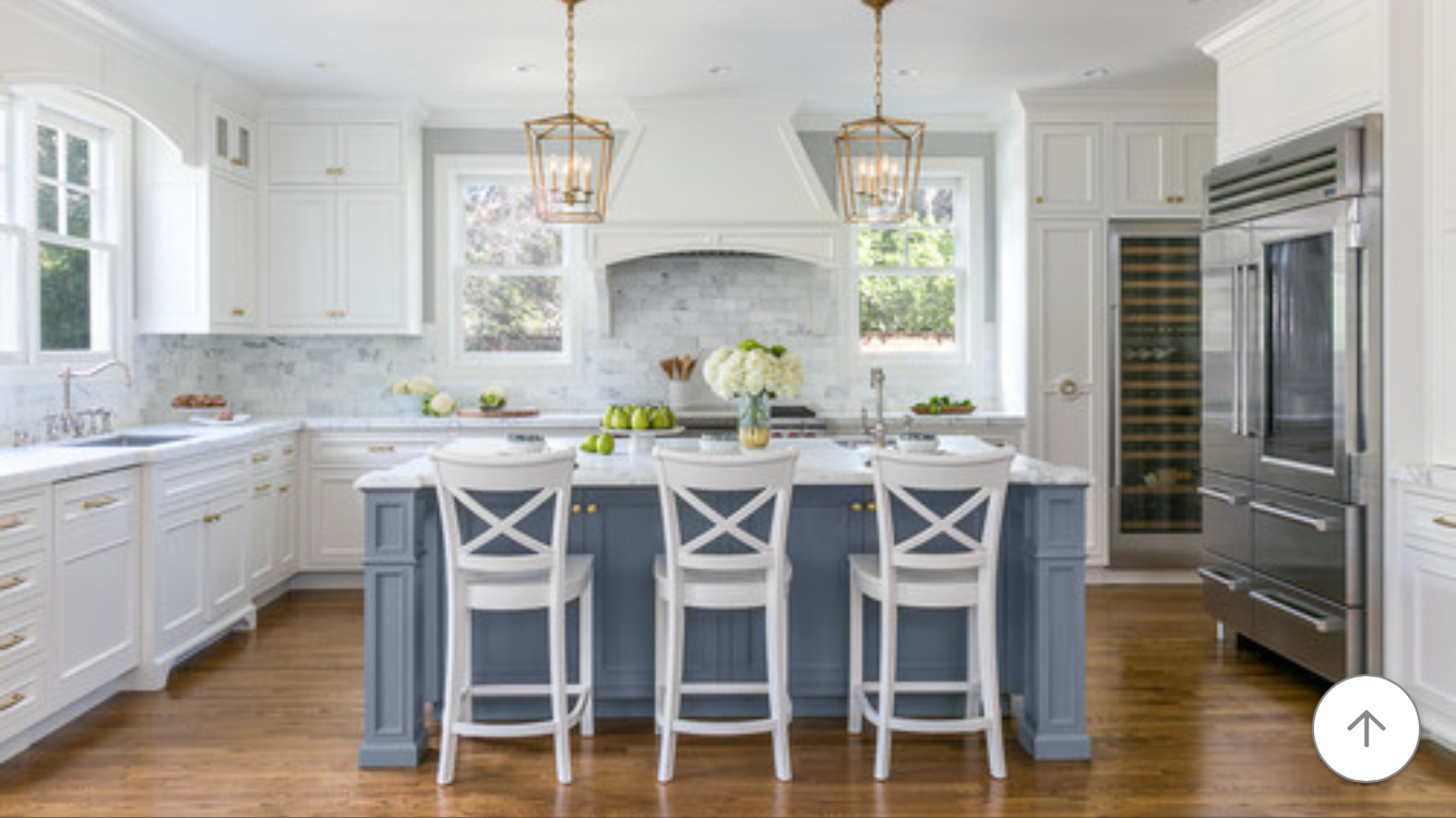 Like The Island Being A Different Color Than Rest Of Cabinetry White Kitchen Design Kitchen Design Blue Kitchen Island